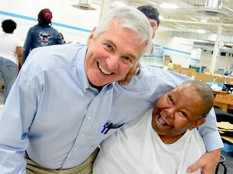 Greenwood Citizens Visit Burton Center - Friends Smiling