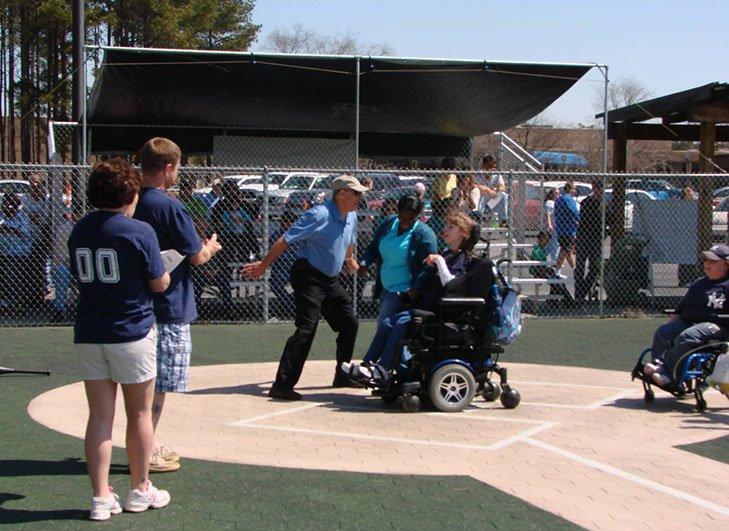 Burton Center Playing Baseball